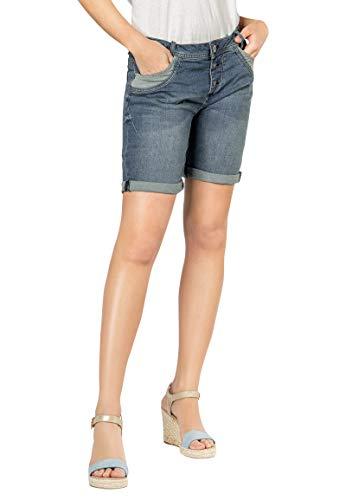 Sublevel Damen Jeans Bermuda Shorts mit Destroyed Parts Dark-Blue M