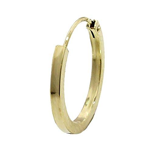 NKlaus EINZEL 585 gelb Gold CREOLE Ohrring Ohrschmuck flach Goldohrring 16mm 1845