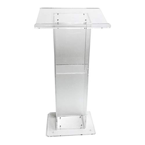 Stand-Up Presentation Lectern Church Pulpit with Shelf Easy Tall Lectern Assembly Required Acrylic Podium Clear Lectern Speaking Training Podium (Color : Clear, Size : 60X40X110cm)