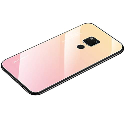 AIsoar Compatible with Huawei Mate 20 Pro Colored Gradient Tempered Glass Case,Tempered Glass Back Cover + Soft TPU Bumper Frame Shockproof Anti-Scratch Protective Cover Shell (Pink + Yellow)