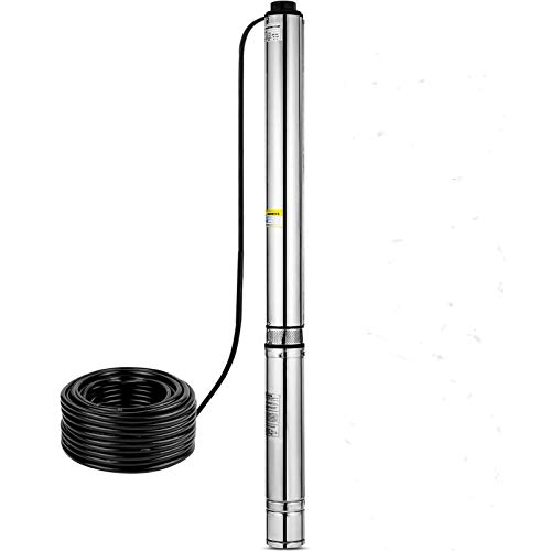 Happybuy Well Pump 2 HP 220V Submersible Well Pump 440ft Head 42GPM Stainless Steel Deep Well Pump for Industrial and Home Use