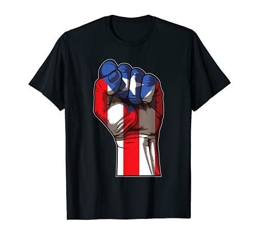 Puerto Rico Pride   Raised Fist Boricua Flag T-Shirt