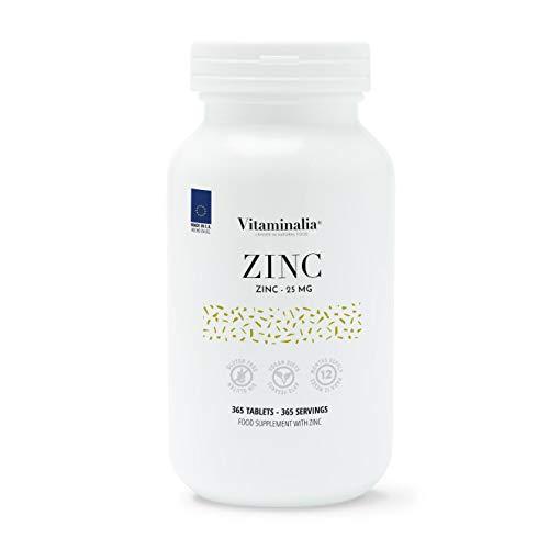 Zinc de Vitaminalia   25mg de Gluconato de Zinc   Suplementación para 1 Año   Forma de Alta Biodisponibilidad   Vegano, Sin Gluten, Sin Lactosa   365 tabletas