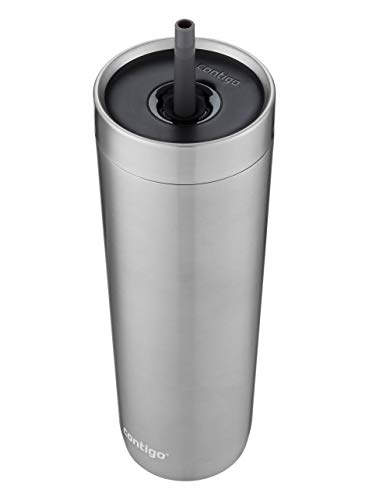 Contigo Luxe Stainless Steel Tumbler with Spill-Proof Lid and Straw - Insulated Travel Tumbler with No-Spill Straw, 24oz, Stainless Steel, 24 oz