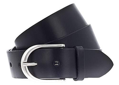 Vanzetti Damen Leder Gürtel Belt Ledergürtel Damengürtel Schwarz 35mm Eindornschließe (95 cm)