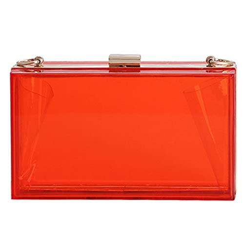 HMYLI Bolso de Mensajero de Las señoras, Embrague de Color de Caramelo Transparente, Bolso de la Bolsa de Cena, Bolso de la Bolsa de Hombro de Cadena,Rojo
