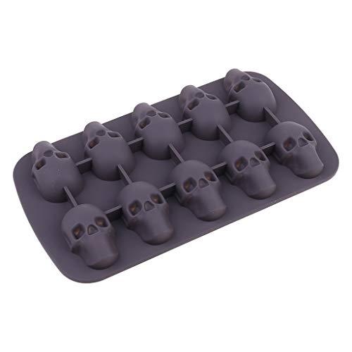 Molde para cubitos de hielo con forma de calavera de Guangruiorrty de 10 cavidades para hacer cubitos de hielo en 3D con forma de calavera, molde de silicona y chocolate para bricolaje