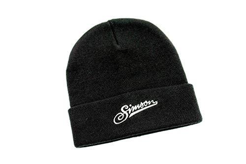 Simson Mütze in schwarz mit weißem Logo Schriftzug