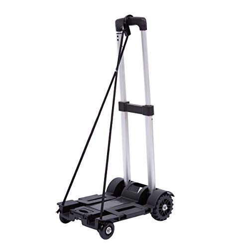 Lumiffy Folding Luggage Cart Portable Hand Truck Folding Hand Truck with 2-4 Wheels for Backpack Airport Travel Heavy Duty (Four-Wheels)