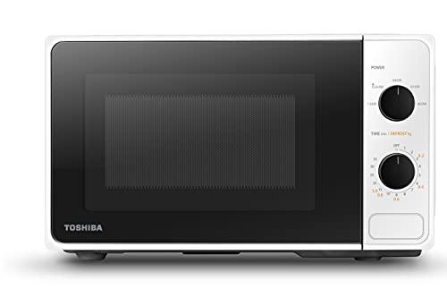 Toshiba MM2-MM20PF(WH) Voll funktionsfähige Mikrowelle mit 5 Leistungsstufen, einfaches Abtauen, 20 L, 800 W, Weiß
