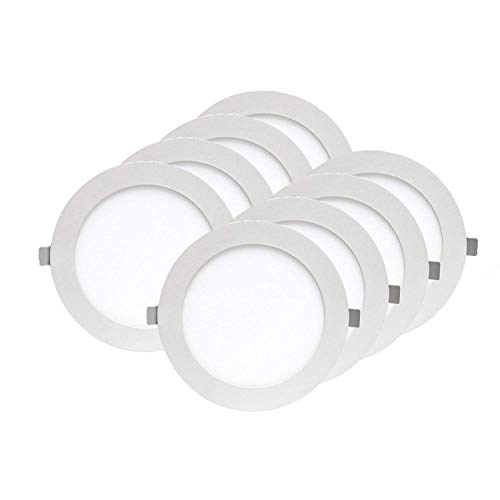 """Xtricity Ultra-Thin Recessed LED Ceiling Light with LED Driver, 4"""" Round Surface, 12W (60W Equivalent), Dimmable, 3000K Soft White, 720 Lumens, Energy Star Certified, ETL Listed, (Pack of 8)"""