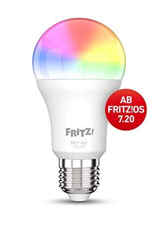 AVM FRITZ!DECT 500 (smarte LED-Lampe E27 für farbiges und weißes Licht, dimmbar, 2700 K, 9 W, 806 Lumen)