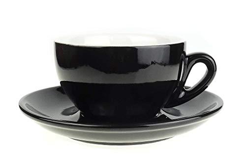 Nuova Point Große dickwandige Cappuccinotasse »Palermo« | schwarz | Füllmenge (bis zur Oberkante): 145 ml | 6 Tassen & 6 Untertassen