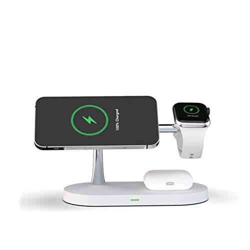 ALLWIN 2021 Nuevo 3 En 1 Cargador Inalámbrico, 15W Qi Soporte De Cargador Vertical Rápido para iPhone 12/12 Pro / 12 Pro MAX para Airpods Apple Watch 6 5 4 3 2 1,Blanco