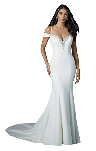 Nicefashion Women's Elegant Beaded Off The Shoulder Mermaid Beach Wedding Dress with Sleeve Ivory US10