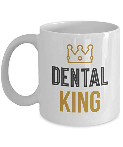 WTOMUG Dental King Crown White Coffee Tea Mug, Novelties, Office Deacutecor,Party Supplies, Accessories, Utensils, Ornament, Products and Pen Container for A Professional Male Dentist (11oz)