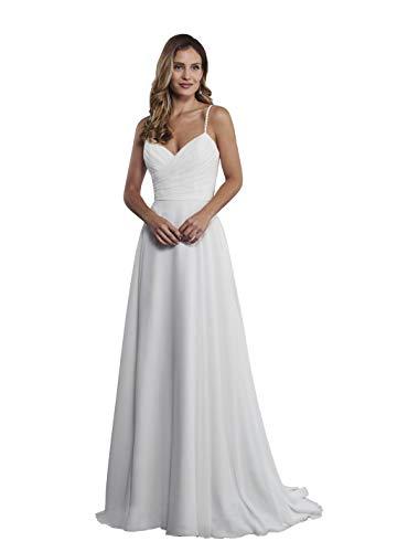 Nanger Damen Lang Chiffon Hochzeitskleider Standesamt Schlicht Brautkleider V-Ausschnitt Weiß 44