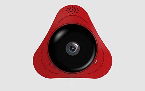 CCLOON 360°Fisheye Panoramische IP-camera 1,3 Megapixel Audio Video 960P Draadloze WiFi Ondersteuning IR Nachtbewegingsdetectie Home Beveiliging Webcam, Rood