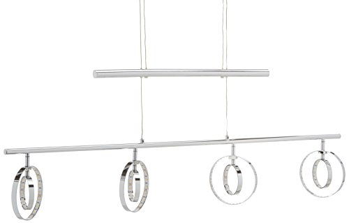 Reality Leuchten LED JoJo-Pendelleuchte Prater in Chrom, 4x4,5 Watt LED, Energieklasse A+