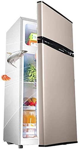 showyow Refrigerador Independiente de Doble Puerta 92L Congelador de Temperatura Ajustable con compresor de Estante Congelador de Baja energía Bajo Ruido Dorado 84CM