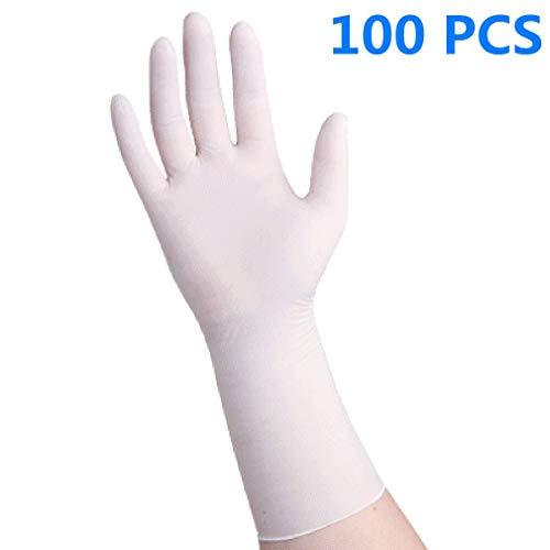 Angusshop Guantes Desechables de nitrilo Lasticidad y Textura Suave Desgaste de Manera cómoda y Flexible Antimicrobiano 100 Unids/Caja Blanco M