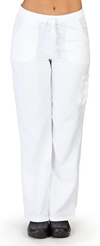 M M SCRUBS Women s Super Soft Comfort Stretch Junior Fit Cargo Pants L White 9118 product image