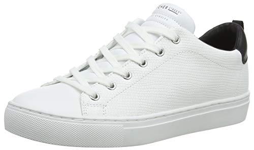 Skechers Side Street-Tegu, Zapatillas Mujer, Multicolor (Wht Black Leather/White Leather/Webbing Trim #L), 40 EU