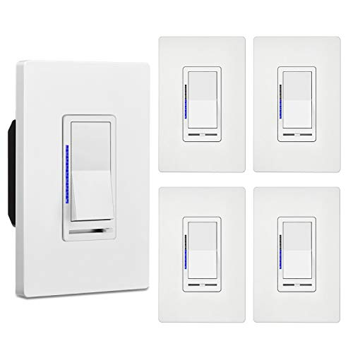 [5 Pack] BESTTEN Digital Dimmer Switch with LED Indicator, Single Pole or 3-Way, for Dimmable LED Lights, CFL, Incandescent, Halogen Bulbs, Mid-Size Screwless Wallplate Included, UL Listed, White