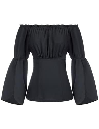 SCARLET DARKNESS Damska bluzka Renaissance, rękaw 3/4, odsłonięte ramiona, top z dekoltem w kształcie litery U