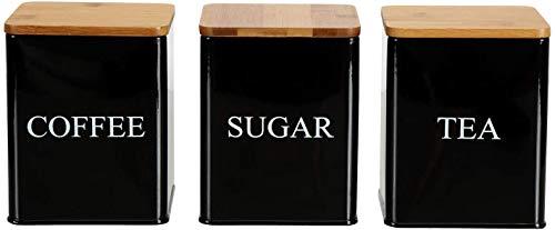 Bekith 3 Stück Aufbewahrungsdosen mit Bambusdeckel Tee Kaffee Zucker 11 x 11 x 14cm