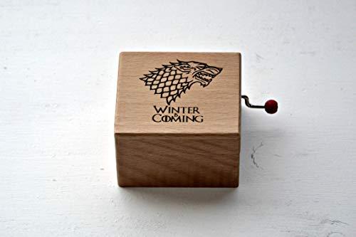 Pequeña caja de música de madera de haya Winter is coming. Melodía de Juego de Tronos.