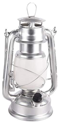 Led-campinglantaarn, tuinlantaarn Retro 19 cm, retro zilver.