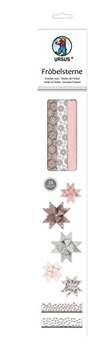 Ursus 34870000 - Fröbelsterne, 60 Streifen, sortiert in 2 verschiedenen Größen, rose/hellgrau/braun