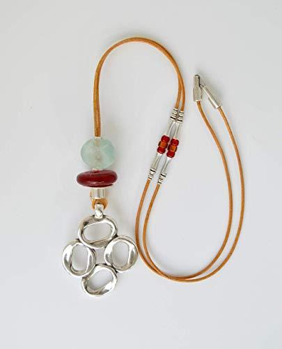 Collar cuero con colgante plata grande, regalos originales para mujer, Joyas boho