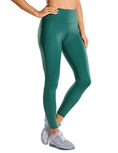 CRZ YOGA Non See-Through Compression Leggings for Women Hugged Feeling 7/8 Workout Leggings Running Tights-25 Inches Green Jasper 25'' - R424 Running Medium
