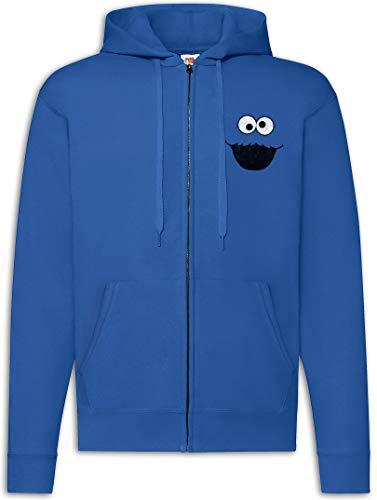 Urban Backwoods Cookie Monster Sudadera con Capucha Y Cremallera para Hombre Zipper Hoodie Azul Talla 2XL
