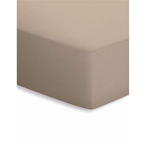 schlafgut Mako-Jersey Basic Spannbetttuch, Baumwolle, Taupe, 200 x 100 cm