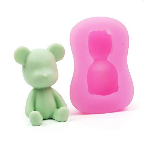 Lubudup Molde de silicona con forma de oso pequeño, forma de jabón, para tartas, gelatina, pudín, chocolate, vela, jabón