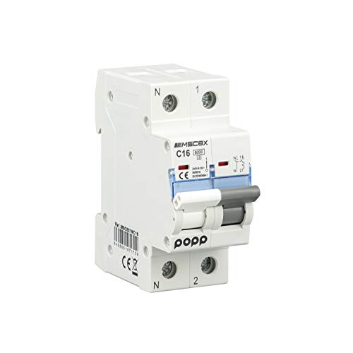 POPP Interruptor Automático Magnetotérmico industrial CURVA C 1P 2P 3P + 6A 10A 16A 20A 25A 32A 40A 50A 63A … (1P+N, 16A)