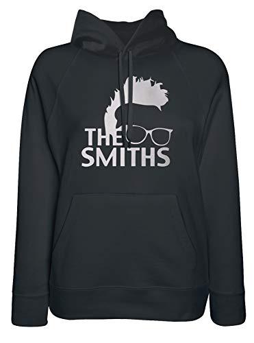LaMAGLIERIA Damen-Hoodie The Smiths White Print - Kapuzenpullover Indie Rock Band, Medium, Schwarz