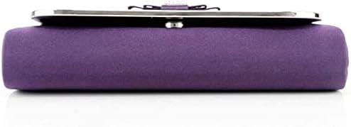 Women's Evening Handbags Silk Bow Evening Bag Party Bag, Elegant Ladies Clutch Chain Bag (Color : Purple)