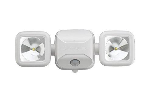 Mr. Beams MB3000 haute performance, sans fil, alimenté par piles LED, Détection de mouvement, Sécurité à faisceaux lumineux double tête, 500 lumens, Plastique, blanc, 1-Pack
