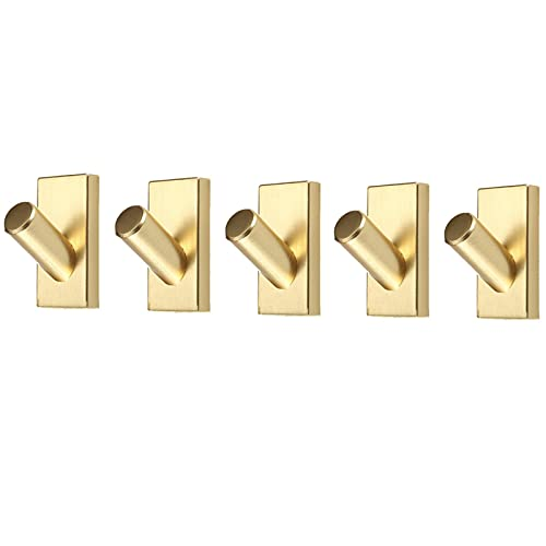 SHUTING2020 Perchero 5 Paquetes de Ganchos de Metal Ganchos Ganchos Pesados Ganchos montados en la Pared para Colgar, Sombrero, Toalla, Bufanda, Bolsa, Llave, Gorra, Taza (Dorado) Perchero casero