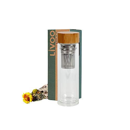 Botella de cristal con colador de té, termo con filtro de té de 450 ml, botella de té con colador para llevar, hervidor de té con tapa de bambú