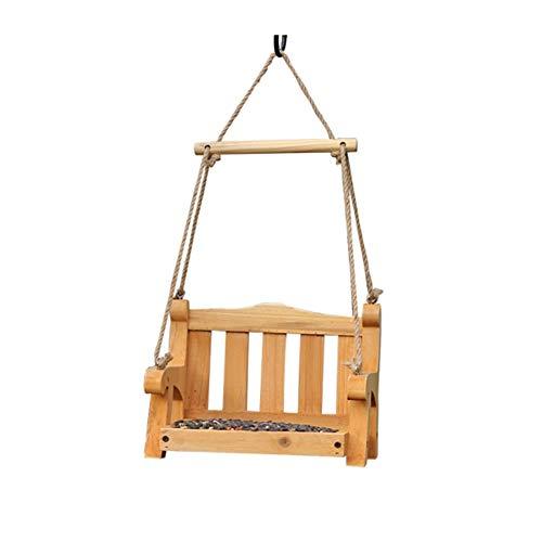 RENJUN Portable Bird Feeder,Pine Wood Hanging Outdoor Garden Porch Decoration With Rope Pet Supplies Swing Chair Hummingbird Parrot