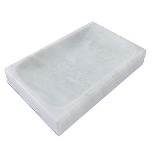 LUHOM LUJOSO HOGAR MEXICO Seifenschale Marmor I Seifenablage Waschbecken I Seifenuntersetzer für Bad & Küche I Seifenhalter robust & hochwertig I Bego Weiß
