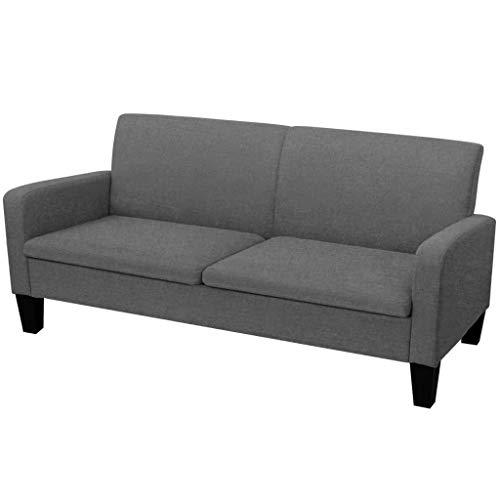 vidaXL Sofa 3er Dunkelgrau Couch Stoffsofa Polstersofa Loungesofa Sitzmöbel