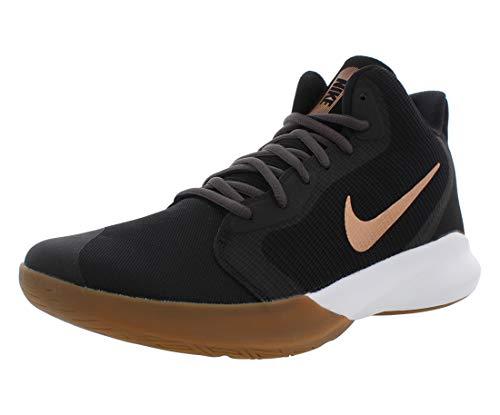 Nike Unisex-Adult Precision III Basketball Shoe, Black/Metallic Copper-Thunder Grey, 6.5