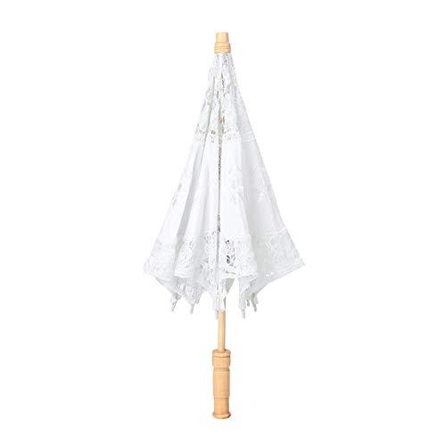 Bordado de flores hechas a mano Paraguas de encaje Sombrilla Boda Novia Paraguas para dama Mujeres Fiesta Aniversario Inicio Disfraz de Halloween Decoración Fotografía Prop( 43.00*4.00*4.00-Blanco)