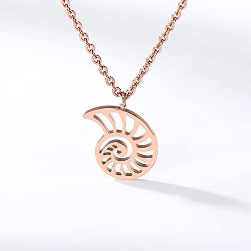 YQMR Colgante Collar para Mujer,Elegante Collar De Mujer De Oro Rosa Grabado Hueco Tema del Océano Concha Colgante Encanto Clásico Regalo De Joyería para Mamá Cumpleaños Amistad Familia